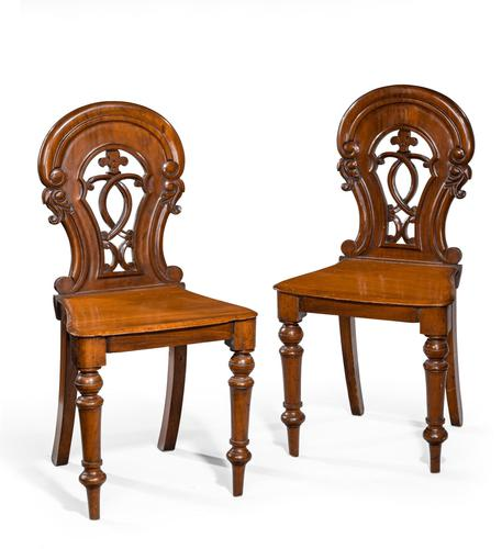 Pair of Early Victorian Period Hall Chairs (1 of 3)