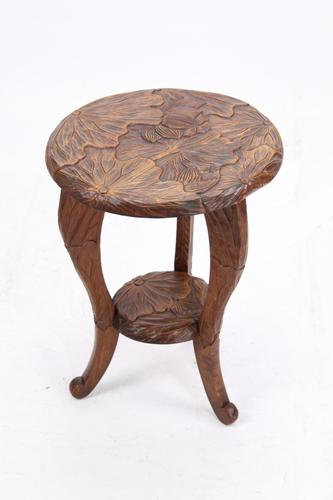 Small Antique Liberty & Co Carved Japanese Coffee Table (1 of 13)