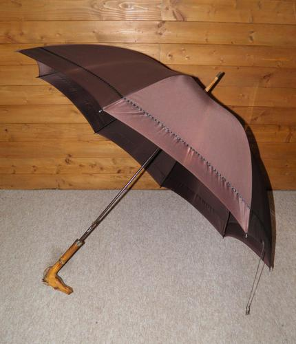 Antique English Made Brown Silk Canopy Umbrella & Hand Carved Horse Head Handle (1 of 14)