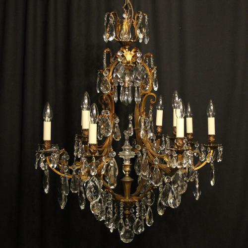 French Gilded Bronze & Crystal Chandelier (1 of 5)