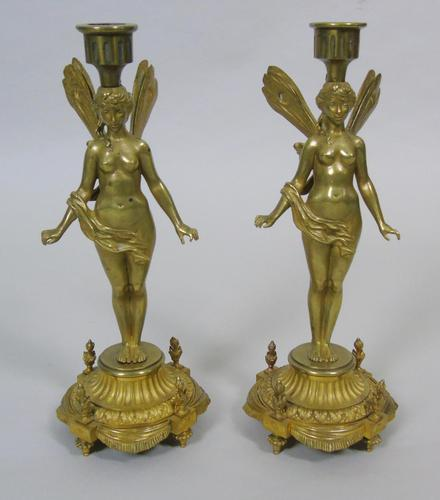 Good Pair of 19th Century French Gilt Bronze Winged Fairy Candlesticks (1 of 5)