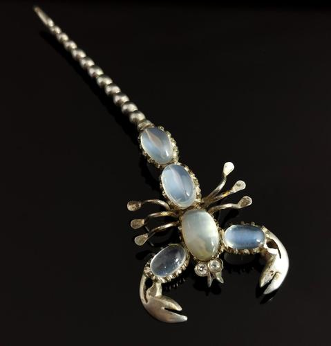 Antique Moonstone Scorpion Brooch, Sterling Silver (1 of 13)