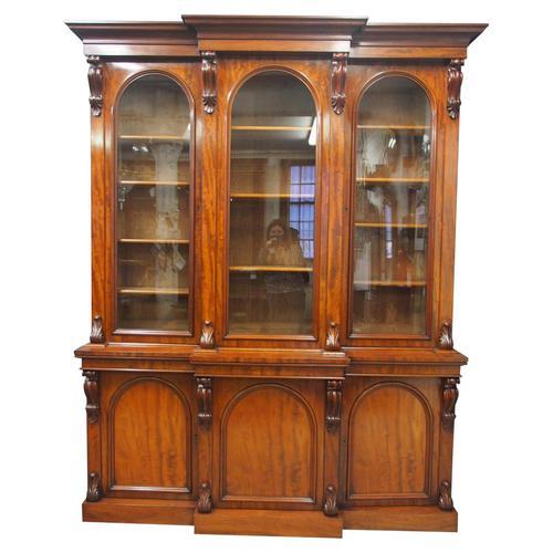 Victorian Mahogany Breakfront Cabinet Bookcase (1 of 19)