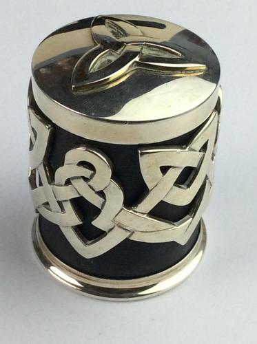 """Solid Silver """"Hallmarked"""" Celtic  Lidded Pot Very Unusual Available Worldwide (1 of 10)"""