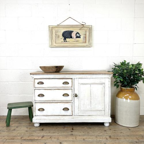 Distressed Antique Pine Cupboard with Painted Base (1 of 10)