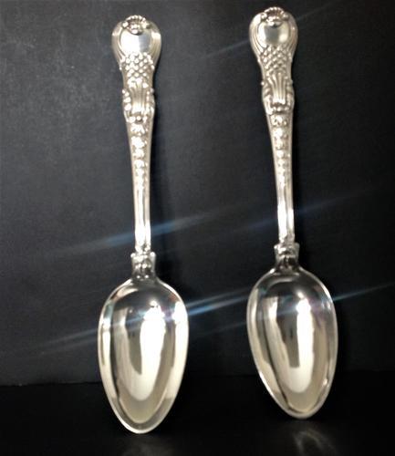 Pair of Paul Storr Antique Georgian Silver Coburg Tablespoons (1 of 8)