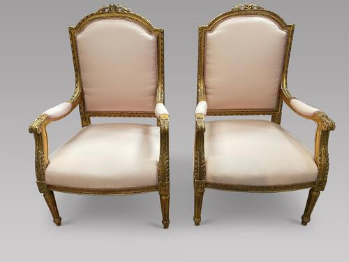 Pair of French Giltwood Fauteuils (1 of 4)