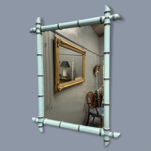 French Painted Faux Bamboo Mirror in Turquoise (1 of 4)