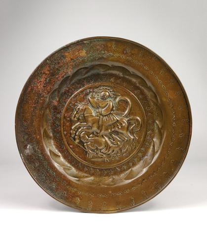 16th Century Alms Dish Depicting George & The Dragon (1 of 4)