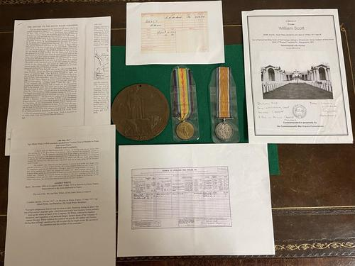South Wales Border Private William Scott Medals & Death Plaque (1 of 10)