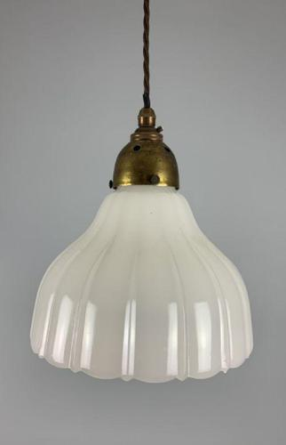 English Moonstone Pendant Ceiling Light; Rewired (1 of 8)