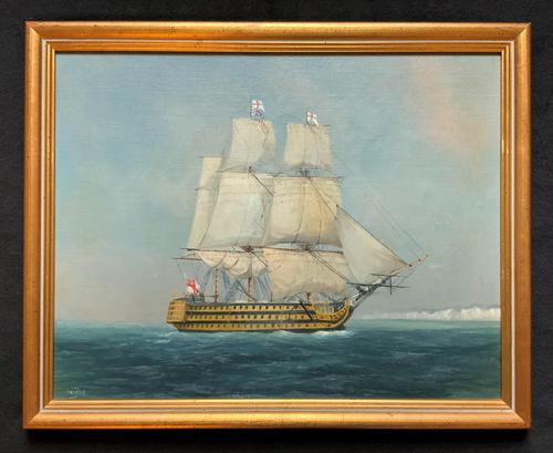 Original Seascape Oil Painting of 18th Century HMS Victory Docked White Cliffs Of Dover (1 of 11)