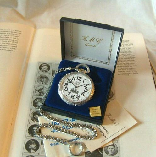 Vintage Pocket Watch 1970s Railroad 9ct White Gold Plated Swiss & West Germany Nos (1 of 12)