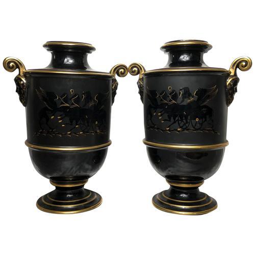 Pair of Fine 19th Century Antique Victorian Porcelain Zeus Chariot Pegasus Vases (1 of 10)