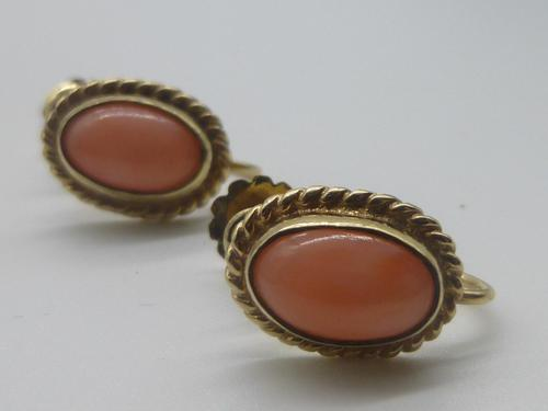 9ct Gold & Coral Earrings (1 of 7)