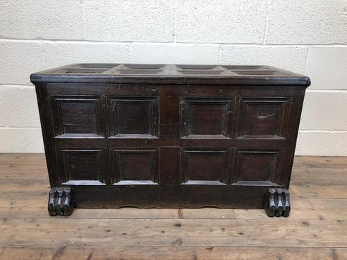 Antique Rare 17th Century Oak Coffer with Block Paw Feet (M-716) (1 of 16)