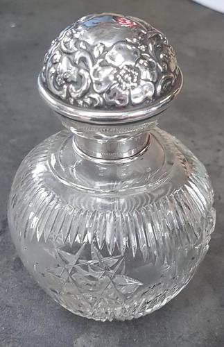 Sterling Silver Topped Cut Glass Perfume Bottle (1 of 4)