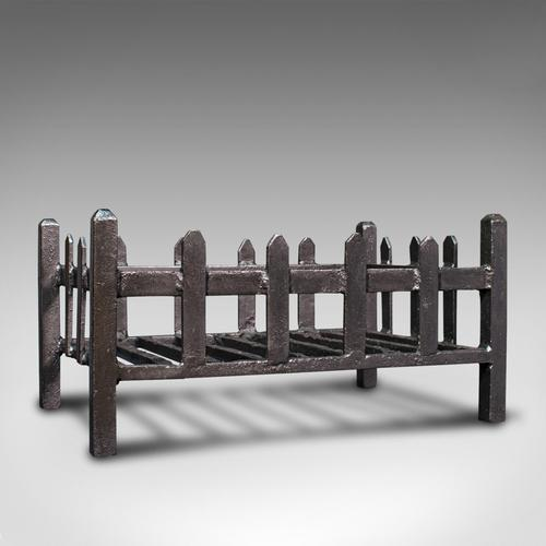 Antique Fire Basket, English, Cast Iron. Fireside, Grate, Late Victorian c.1900 (1 of 10)
