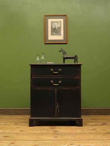 Small Antique Black Painted Cabinet with Drawers, Printer Cupboard, Gothic (1 of 17)