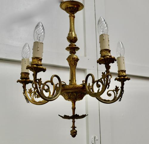Gilded Brass 5 Branch Rococo Style Chandelier (1 of 8)