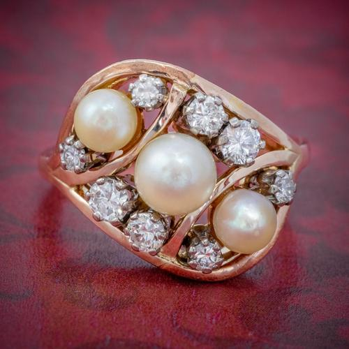 Antique Edwardian Pearl Diamond Cluster Ring 18ct Gold c.1910 (1 of 6)