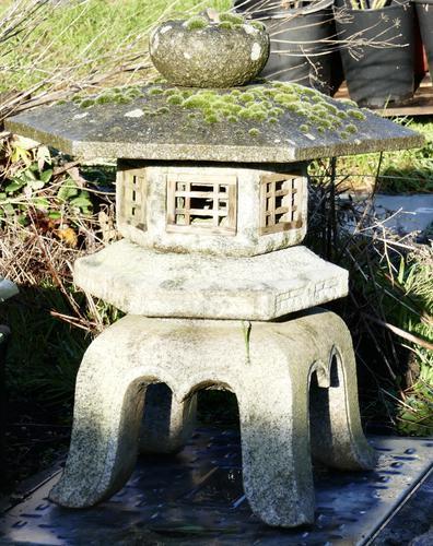 Weather Worn Granite Pagoda Garden Ornament Lantern (1 of 3)