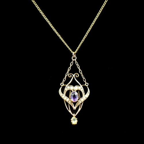 Antique Amethyst Peridot and Pearl Lavalier 9ct 9K Gold Pendant and Chain Necklace (1 of 10)