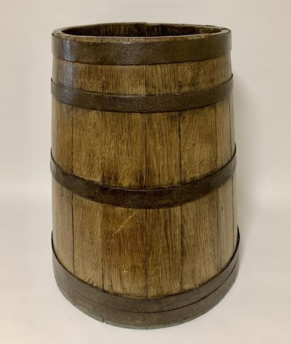 Antique Oak Coopered Barrel Stick Umbrella Stand (1 of 5)