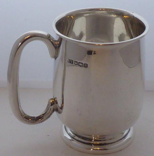 1933 Hallmarked Solid Silver 1/2 Half Pint Tankard Christening Mug E Viner (1 of 8)