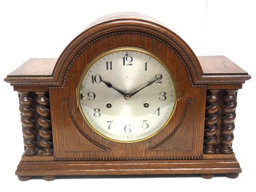 Solid Oak Hat Shaped Mantel Clock 8-day by Hac Westminster Chime (1 of 10)
