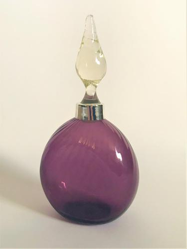 Edwardian Silver Mounted Amethyst Glass Cologne Bottle (1 of 5)