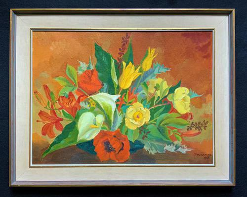 Stunning Original 1960s Vintage / Retro Floral Still Life Oil on Canvas Painting (1 of 11)