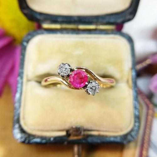 Vintage 18ct Gold Ruby & Diamond Three Stone Bypass Ring (1 of 7)