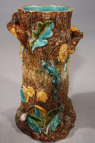 Mid 19th Century Lica Pottery Stick Stand in the Form of a Tree Trunk (1 of 4)