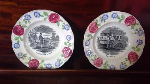 Pair of Antique Staffordshire Childs Nursery Learning Plates (1 of 5)