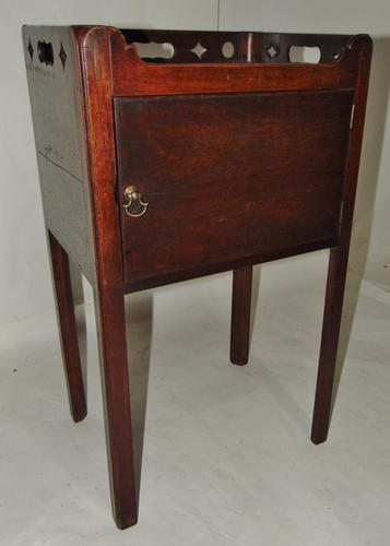 George III Mahogany Tray Top Bedside Cabinet (1 of 9)