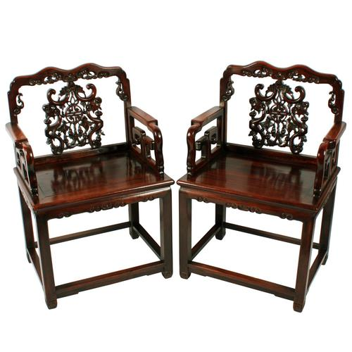 Qing Dynasty Hongmu Throne Chairs (1 of 8)