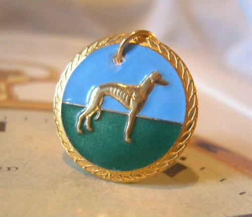 Vintage Pocket Watch Chain Fob 1940s Rose Gilt & Enamel Greyhound Dog Nos (1 of 7)