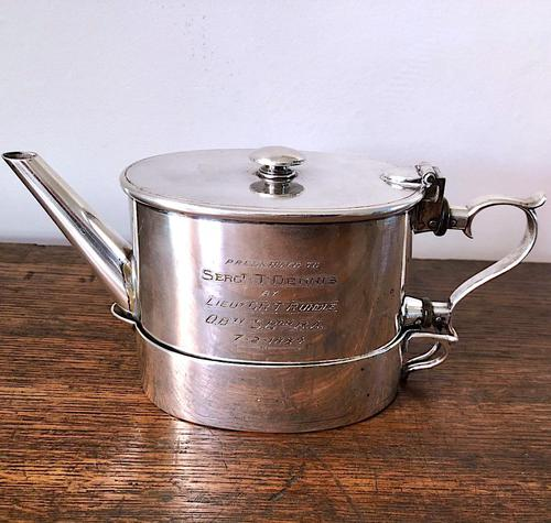 Unusual Indian Silver Plated Campaign Teapot c.1884 (1 of 6)