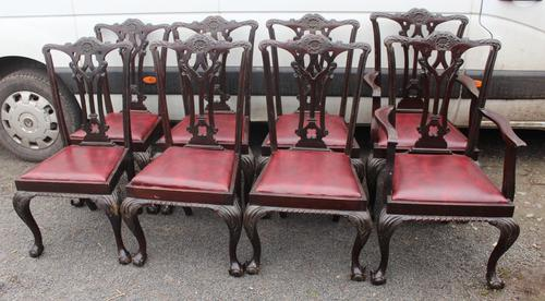 1900's Set of 8 Mahogany Chippendale style Dining Chairs Pop out Seats (1 of 3)
