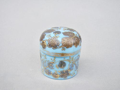 19th Century Moser Turquoise Opaline & Gilt Glass Rouge Pot c.1890 (1 of 6)