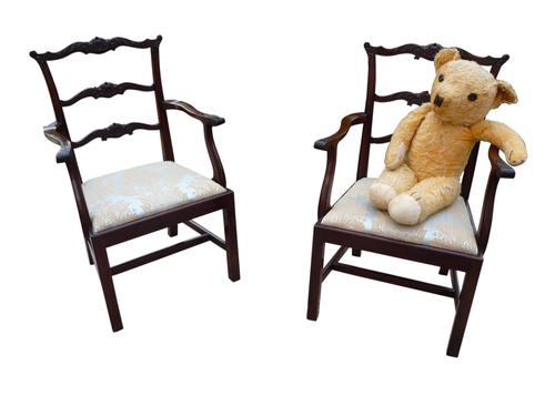 Pair of Mahogany Childrens Chairs Chippendale Style c.1910 (1 of 3)