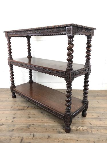 Antique Victorian Carved Oak Three Tier Display Shelves (1 of 10)