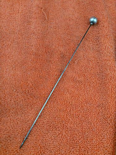 Antique Sterling Silver Ball Ended Hat Pin 8 Inches C1870 (1 of 5)