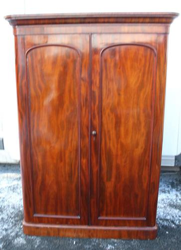 1900s Handsome 2 Door Mahogany Wardrobe All Hanging Drawers at Base (1 of 4)