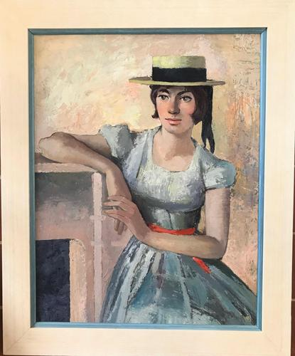 Original Oil on Board 'The Straw Boater' by Toby Horne Shepherd - Signed & Dated 1959 (1 of 3)