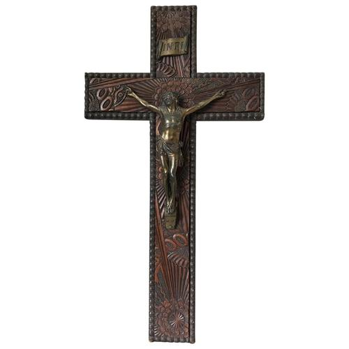 Antique Victorian Carved Gilt Silver Religious Crucifix Jesus Christ Lord Wall Plaque (1 of 11)