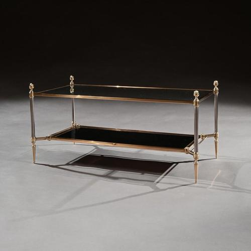 Mid 20th Century Maison Jansen Brass Steel & Leather Coffee Table (1 of 7)