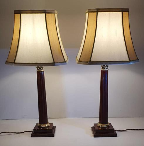 Pair of 20th Century Marble & Brass Corinthian Table Lamps (1 of 5)