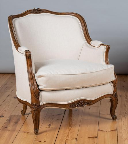 Large French Louis XV Style Walnut Bergere Upholstered Armchair (1 of 11)